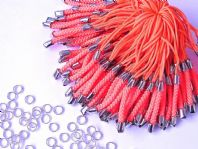 100 Orange Mobile phone cord 70mm with Jump rings